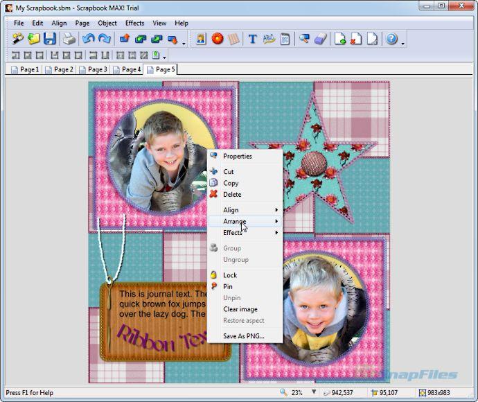 screenshot of Scrapbook MAX!