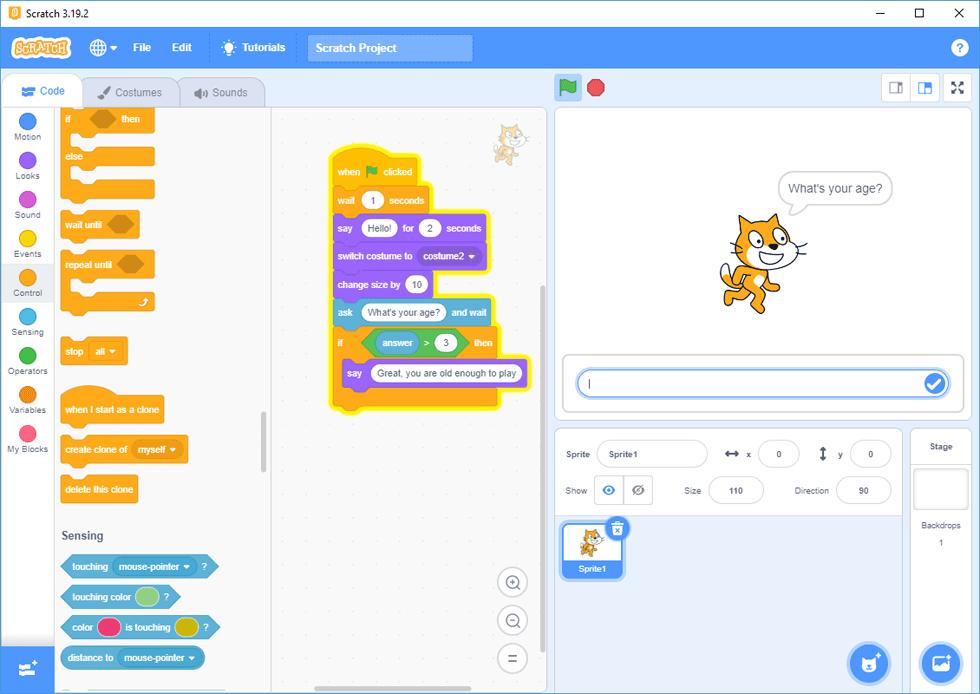 screen capture of Scratch