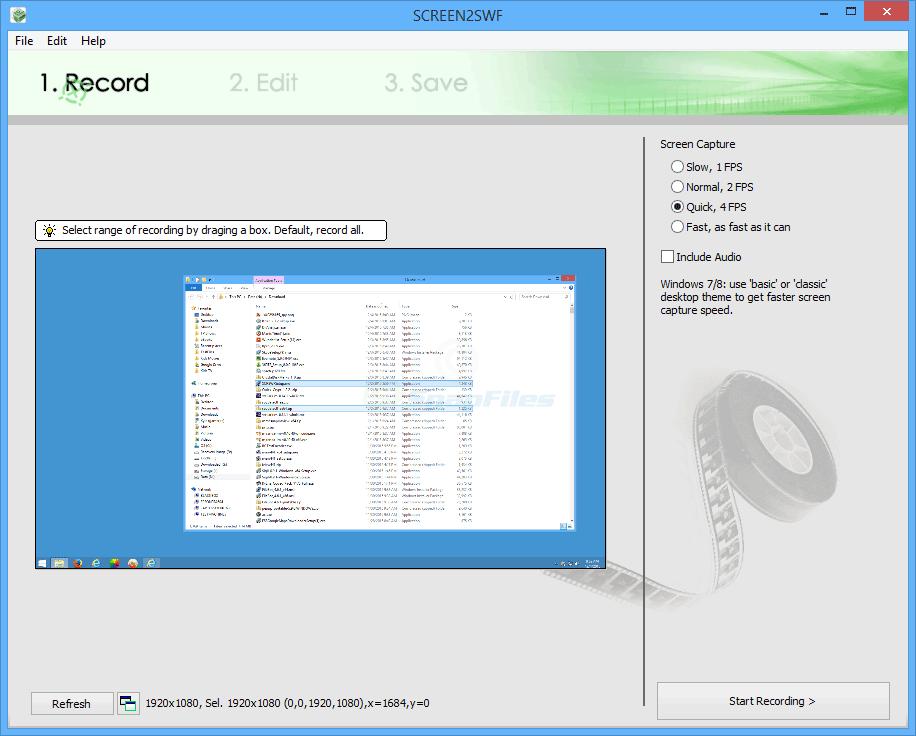 screen capture of SCREEN2SWF