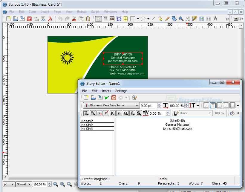 screenshot of Scribus