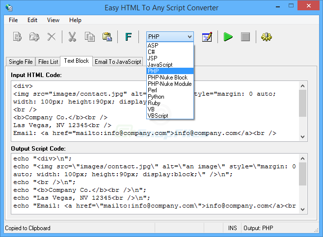 screen capture of Easy HTML To Any Script Converter