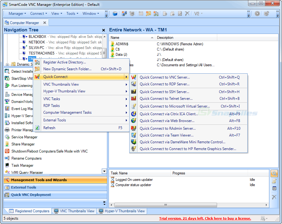 screen capture of SmartCode VNC Manager