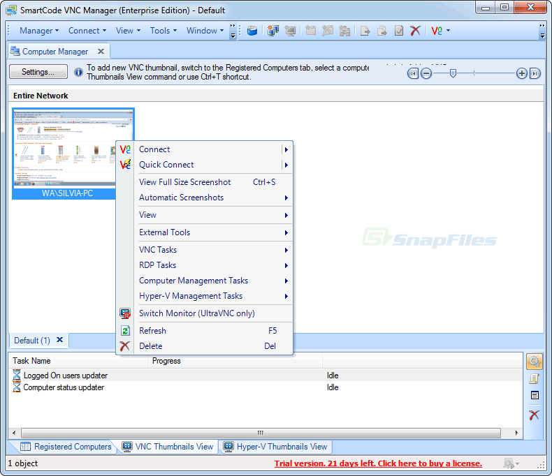 screenshot of SmartCode VNC Manager