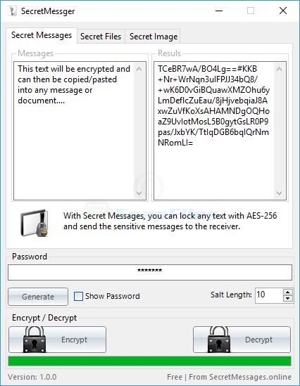 screen capture of Secret Messager