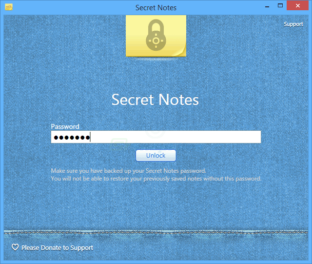 screen capture of Secret Notes