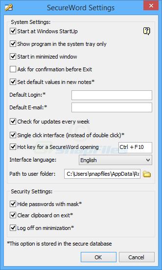screenshot of SecureWord