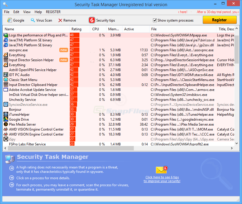 screen capture of Security Task Manager