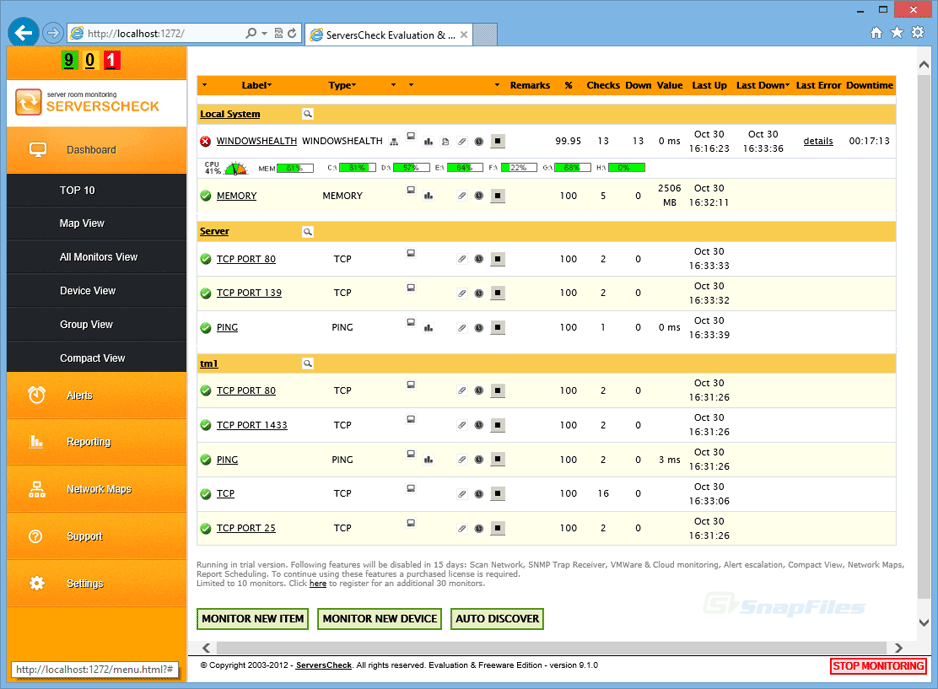 screen capture of ServersCheck Monitoring Software