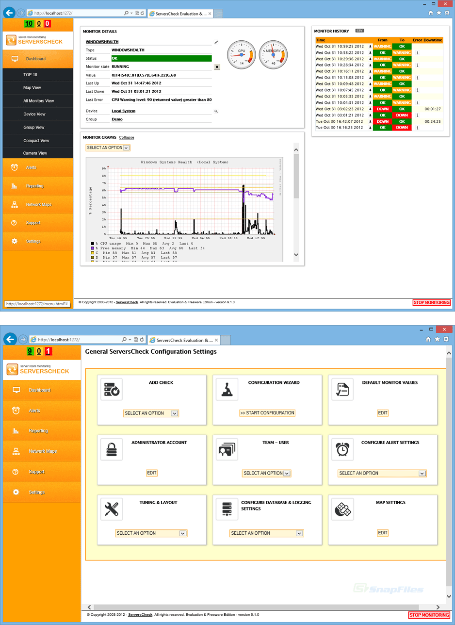 screenshot of ServersCheck Monitoring Software