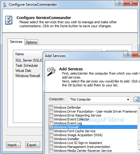 screenshot of ServiceCommander