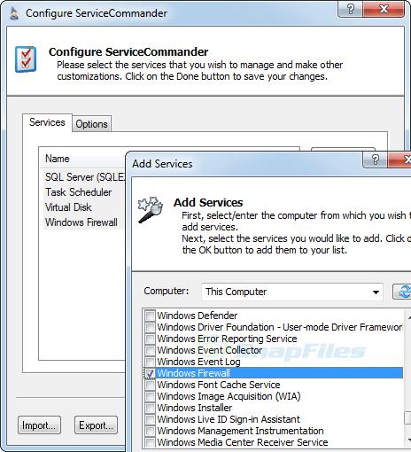 screenshot of ServiceCommander