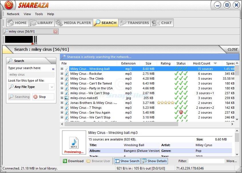 screenshot of Shareaza