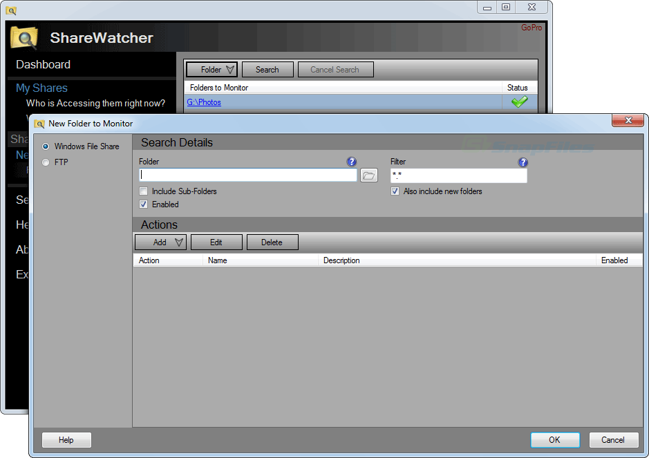 screenshot of ShareWatcher