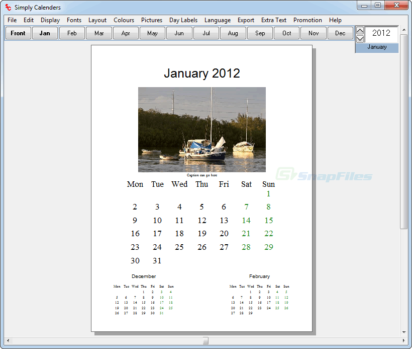 screen capture of Simply Calenders