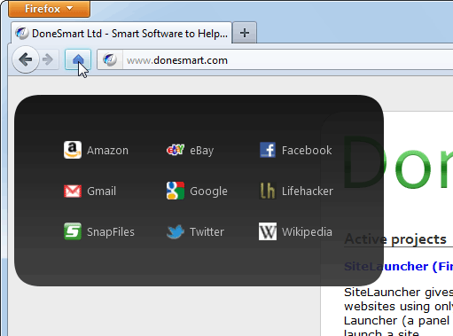 screen capture of SiteLauncher