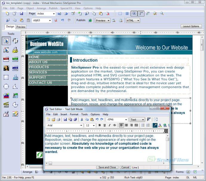 screen capture of SiteSpinnerPro