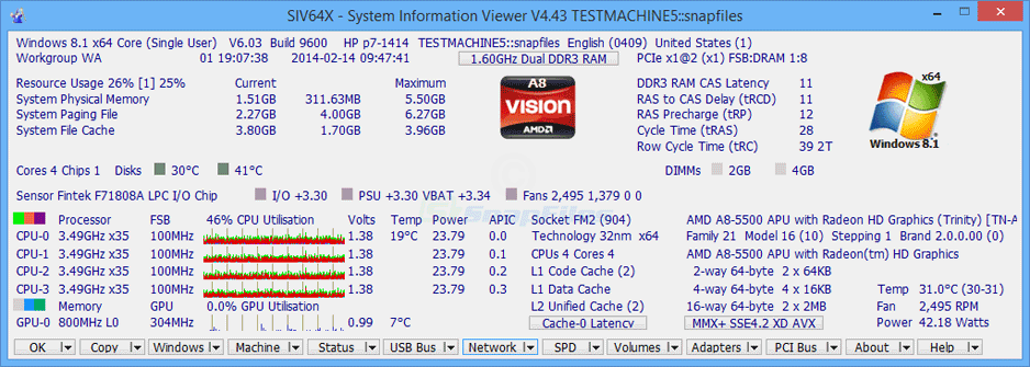 screen capture of SIV System Information Viewer