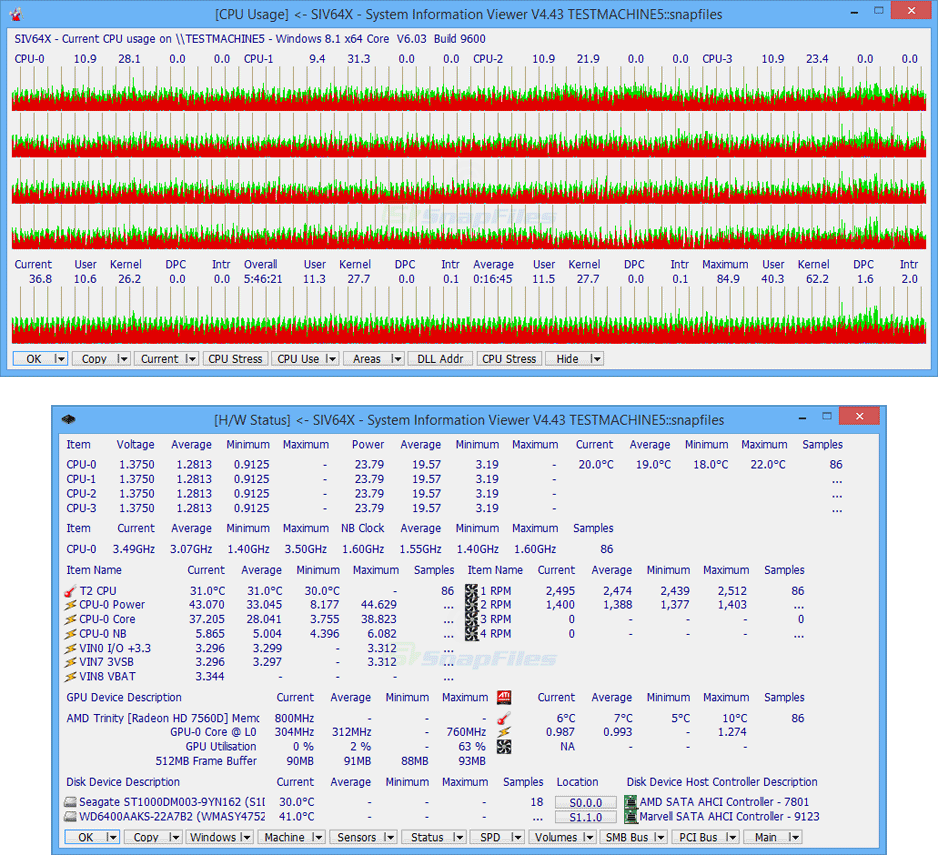 screenshot of SIV System Information Viewer