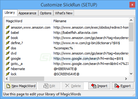 screenshot of SlickRun