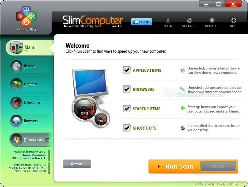 screen capture of SlimComputer