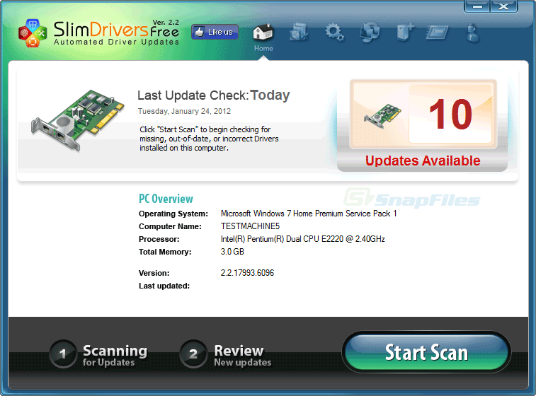 screen capture of SlimDrivers