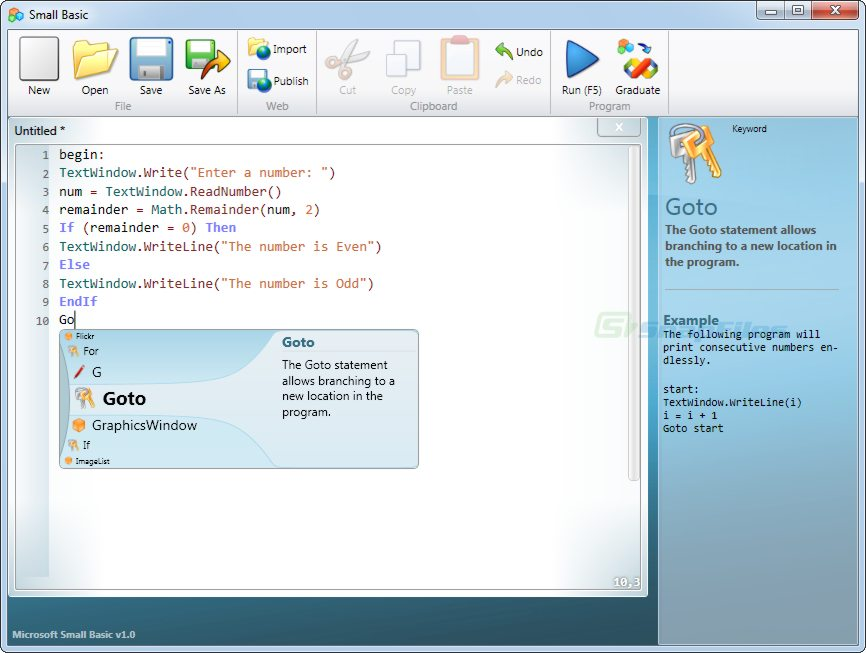 screen capture of Microsoft Small Basic
