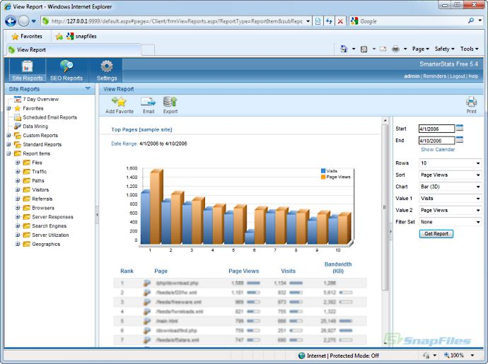 screen capture of SmarterStats (Free Edition)