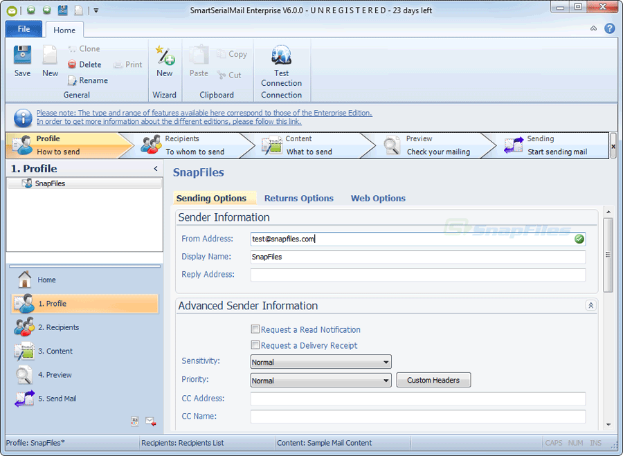screen capture of SmartSerialMail