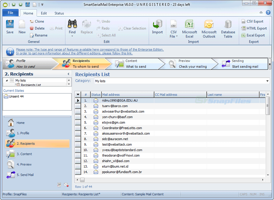 screenshot of SmartSerialMail