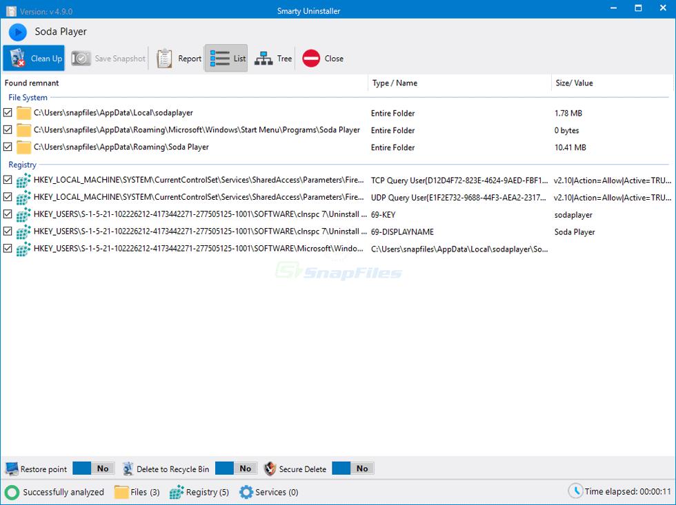 screenshot of Smarty Uninstaller