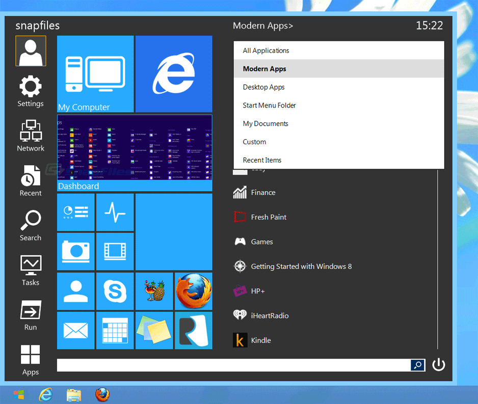 screenshot of Start Menu Reviver
