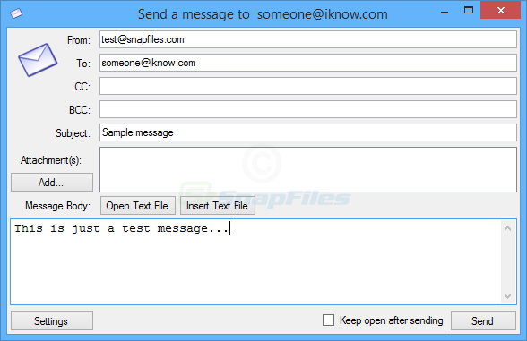 screen capture of SMTP Mail Sender