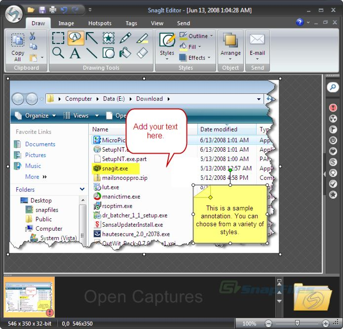 screenshot of SnagIt