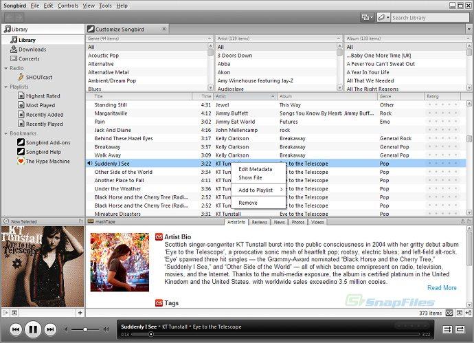 screen capture of Songbird