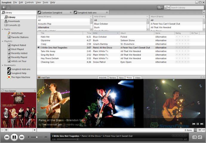 screenshot of Songbird