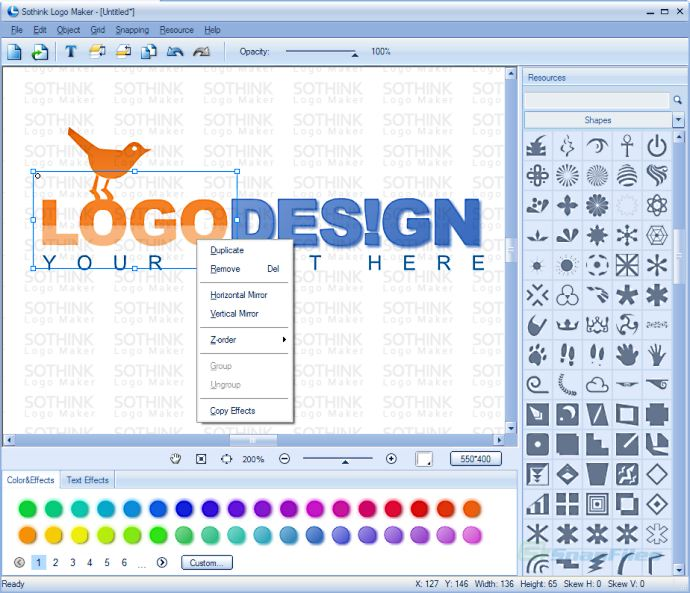 screen capture of Sothink Logo Maker