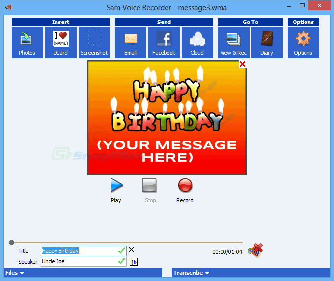 screenshot of Speak-A-Message