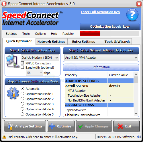 screen capture of SpeedConnect Internet Accelerator