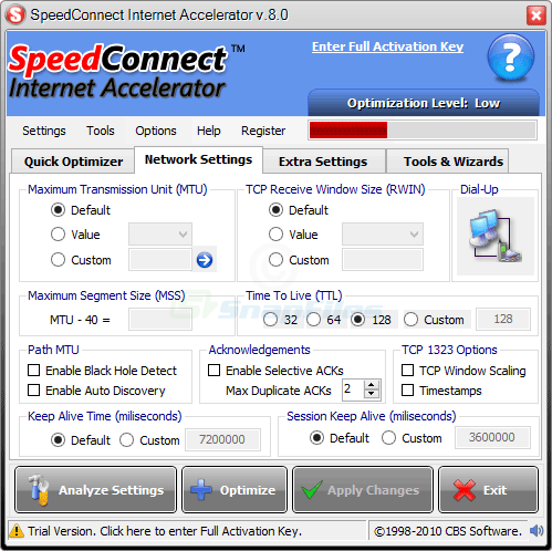 screenshot of SpeedConnect Internet Accelerator