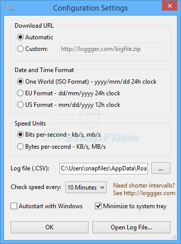 screenshot of Speed Test Logger