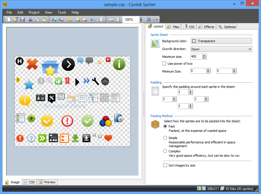screen capture of Cyotek Spriter