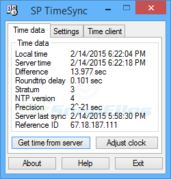 screen capture of SP TimeSync