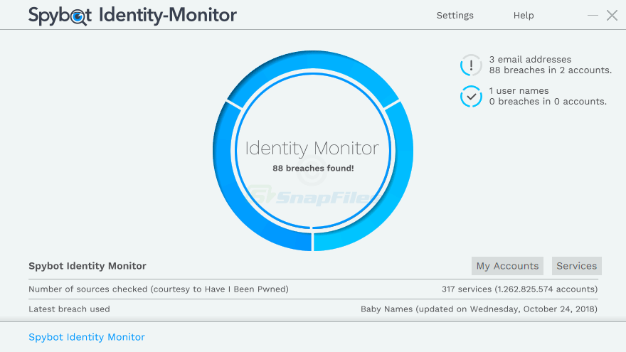 screen capture of Spybot Identity Monitor