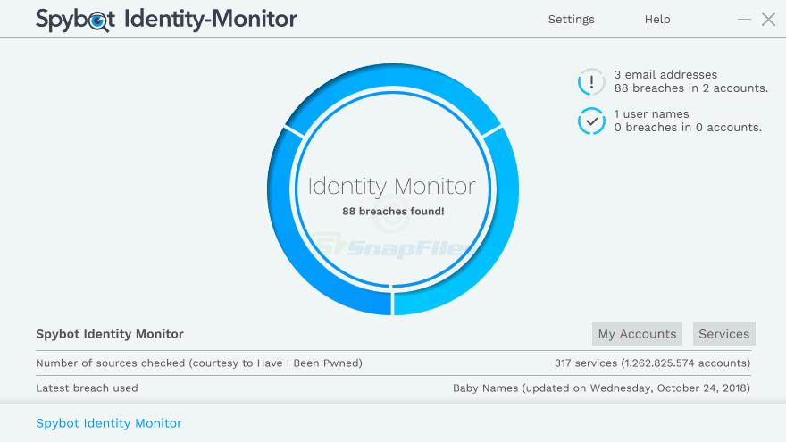 screen capture of Spybot Identity Monitor