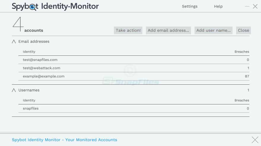 screenshot of Spybot Identity Monitor