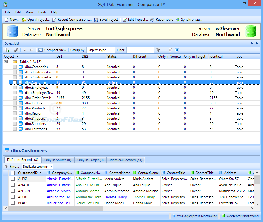 screen capture of SQL Examiner Suite