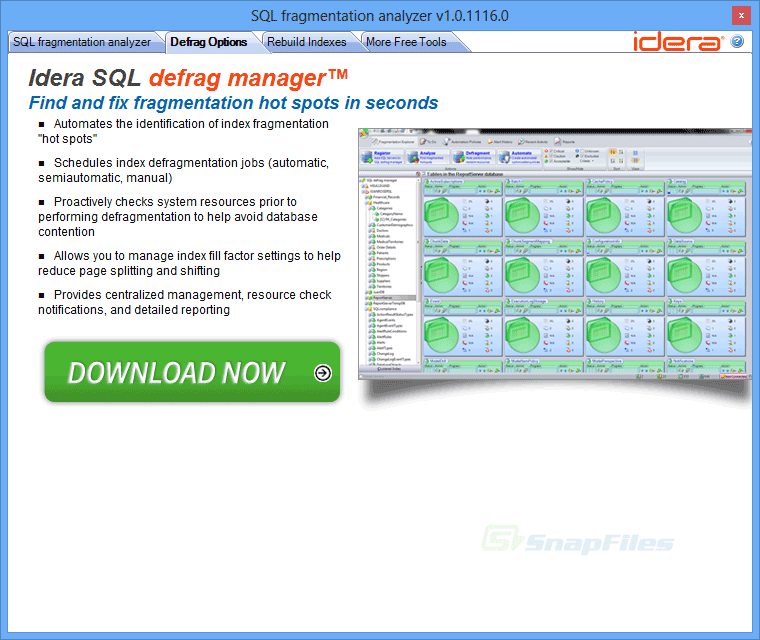 screenshot of SQL Fragmentation Analyzer