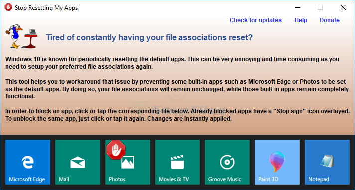 screen capture of Stop Resetting My Apps