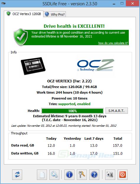SSDLife Free screenshot and download at SnapFiles com