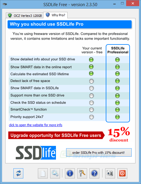 screenshot of SSDLife Free